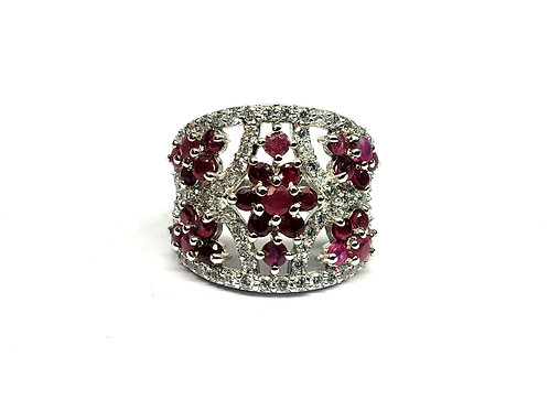 Women's Ring with Natural Ruby & American Diamonds in 925 Sterling Silver