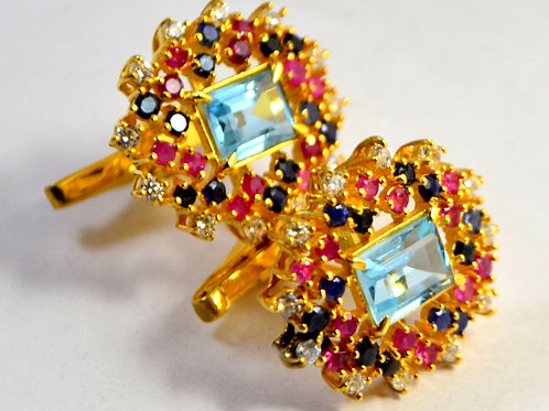 Natural Blue Topaz ,Natural Ruby & Blue Sapphire Gold Plated Cufflink