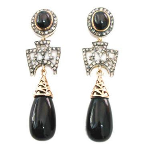 Natural Black Onyx Earrings framed with Diamonds in Silver