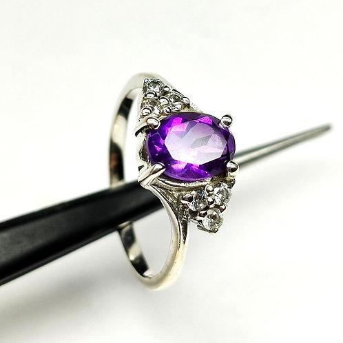 Natural Purple Amethyst & Zircon Women New trendy Ring in 925 Sterling Silver