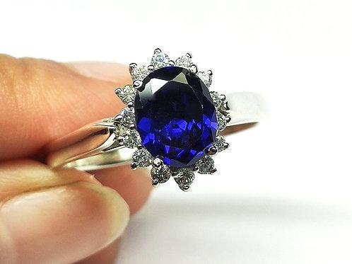 Blue Sparkling Sapphire Simulate & White Zircon Ring