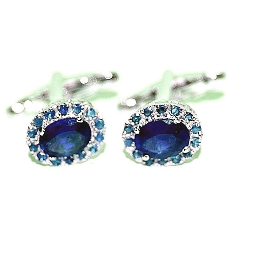 Natural Blue SapphireGemstone studded beautifully in Cufflink Sterling Silver
