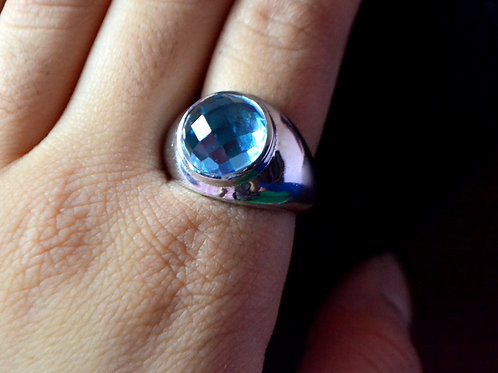 Natural Blue Topaz Round gemstone custom made design in 925 Sterling Silver Ring
