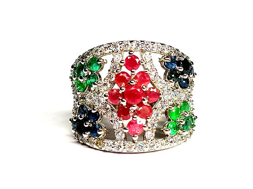 Lovely Women's Ring with Natural Ruby, Emeralds, Blue Sapphires & CZ