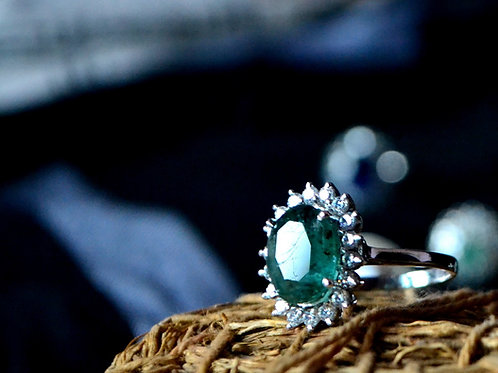 Natural Emerald Band with clustered design in 925 Sterling Silver Ring