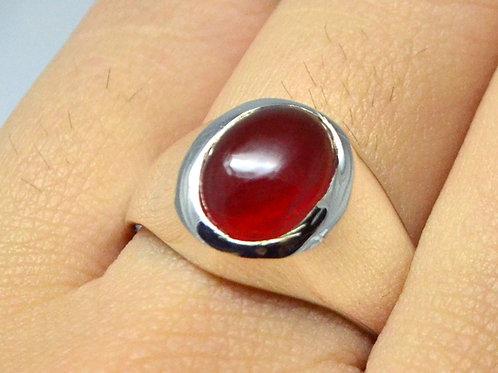 Cabochon Ruby Statement Men Ring in 925 Sterling Silver