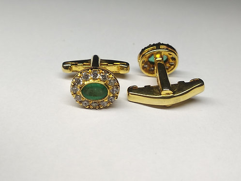 Natural Emerald & Cubic Zircon Cuff-links in Gold-Plated 925 Sterling Silver