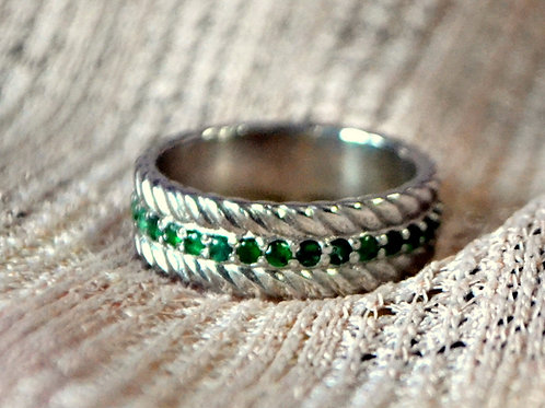 Green Natural Emerald Band Ring in Sterling Silver