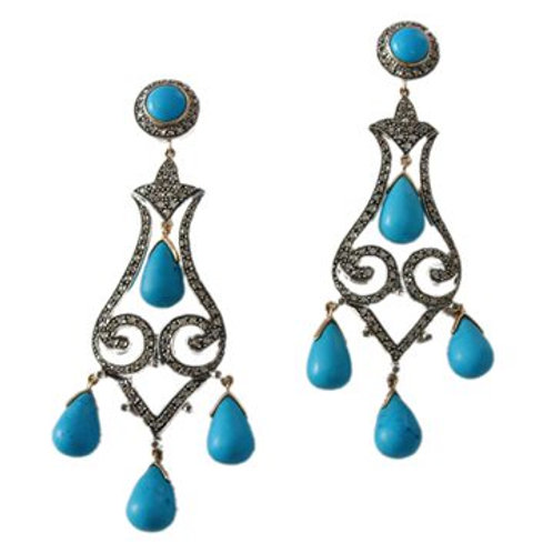 Exclusie Natural Turquoise & Diamond Handmade Earrings in Silver
