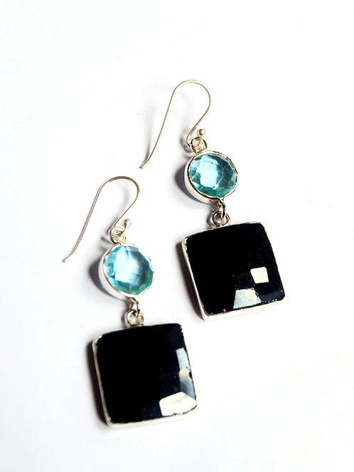 Blue & Black Elegant Natural Gemstone Earrings in 925 Sterling Silver
