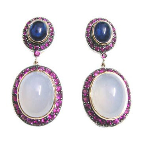 Natural Ruby, Chalcedony & Blue Sapphire Handmade Earrings in Silver