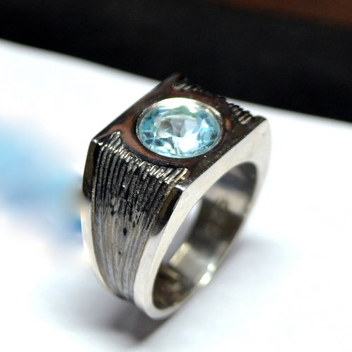 Bold Big Statement Design Natural Blue Topaz Ring 925 Sterling Silver