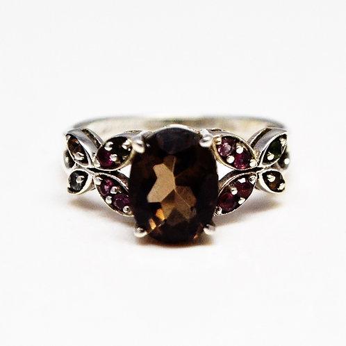 Astonishing 925 Sterling Silver Good Quality Smoky Quartz & Natural Ruby Ring