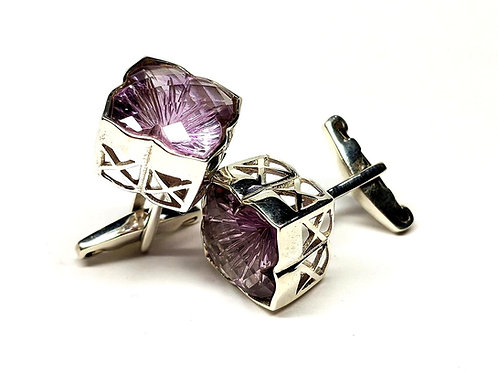 925 Sterling Silver Good Quality Natural Purple Carved Amethyst (14x14mm) Beauti