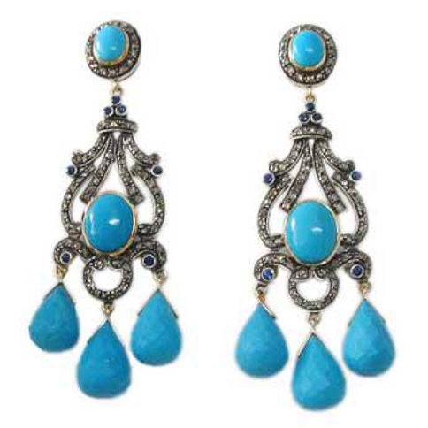 Fine Quality Turquoise framed with Natural Diamond Handmade Earrings in Silver