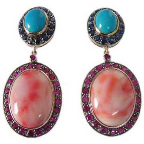 Fine Quality Indian Opal, Turquoise, Ruby & Blue Sapphire Earrings in Silver
