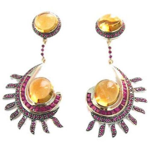 Beautiful Natural Citrine & Natural Ruby Handmade Earrings in Silver