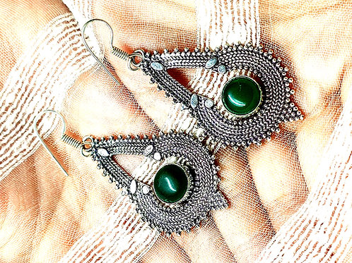 Green Onyx Silver Simulated Earrings Vintage Style