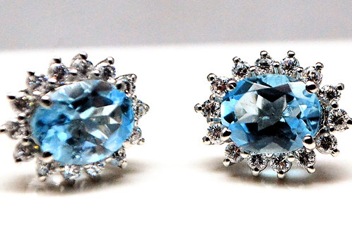 Beautiful Studs with Natural Blue Topaz & Zircon in 925 Sterling Silver