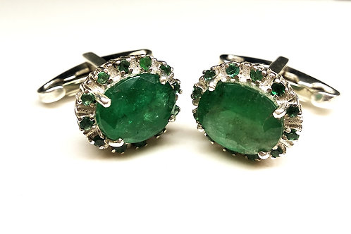 Stylish Natural Sparkling Emerald Cuff-links in 925 Sterling Silver