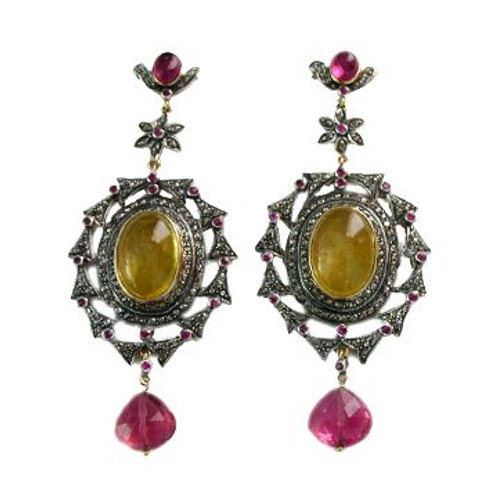 Astonishing Natural Ruby,Diamonds & Citrine Handmade Earrings in Silver