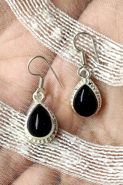 Silver Simulated Charming Earrings With Natural Black Onyx Gemstone
