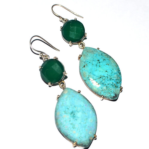 Natural Green Onyx & Blue Stone Earrings in 925 Sterling Silver