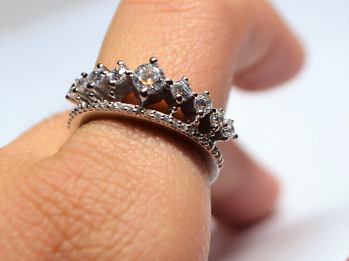 Tiara Crown Ring clustered design in 925 Sterling Silver Ring for women & Girls