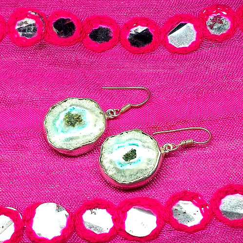 Glam Silver Simulated Earrings With Natural Druzy Gemstone