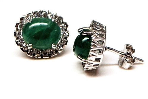 Studs in Natural Green Cabochon Onyx with Clustered Czs in 925 Sterling Silver