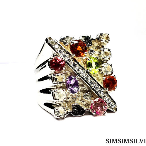 Ring with Natural Amethyst,Perdot,Citrine,Tourmaline ,White Topaz & CZ
