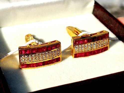 Natural Ruby & Cz Gemstone Cuffink in Gold Plated 925 Sterling Silver | Virtual