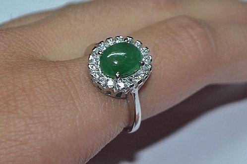 Natural Emerald Gemstone clustered design in 925 Sterling Silver Ring