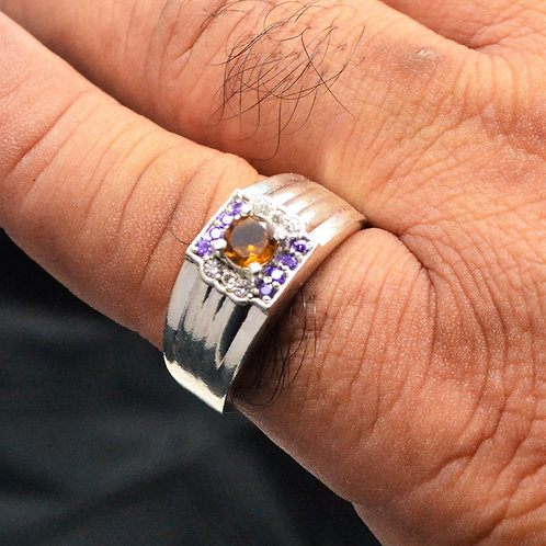 925 Sterling Silver with Good Quality Citrine & Amethyst Men's Ring