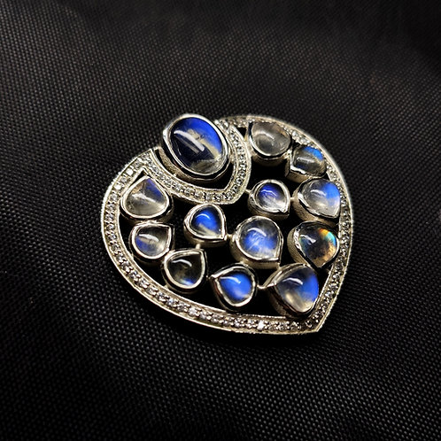 Royal touch Brooch with Natural Blue Moonstones & Cz in 925 Sterling Silver