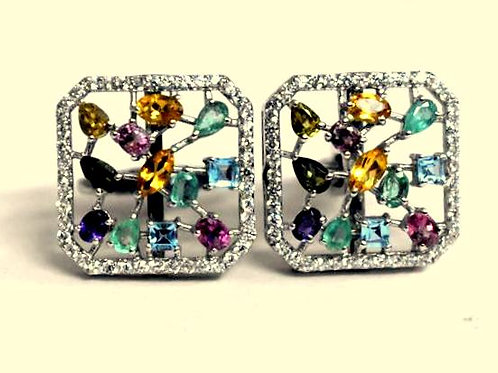 Natural Multi-stoned Tourmaline & Cz Cuff-links in 925 Sterling Silver
