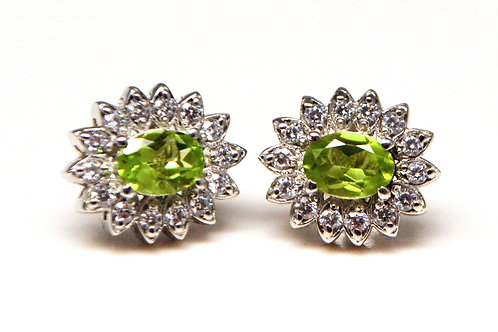 Beautifully embedded Natural Peridot with Zircons in Stud in 925 Sterling Silver