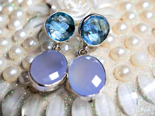 Natural Swiss Blue Gemstone Cute Studs in 925 Sterling Silver
