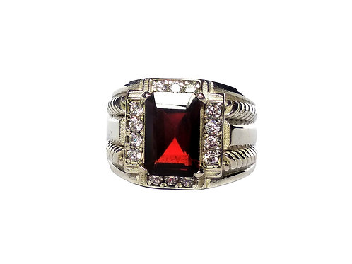 Classic Solitaire Ring with Natural Garnet & Cz in 925 Sterling Silver