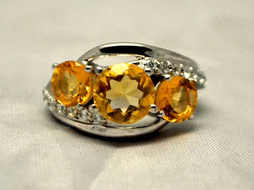 Natural Citrine Ring embedded with Cubic Zircon in 925 Sterling Silver