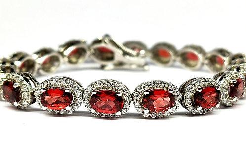 Charming Bracelet with sparkling Natural Garnet & Zircons in 925 Sterling Silver