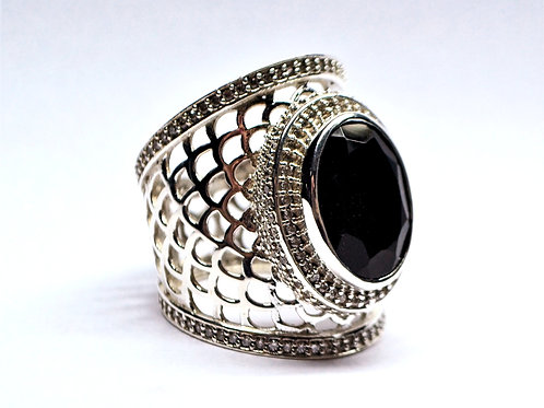 Antique Style Vintage Beautiful Ring with Black Onyx & Cz in 925 Sterling Silver