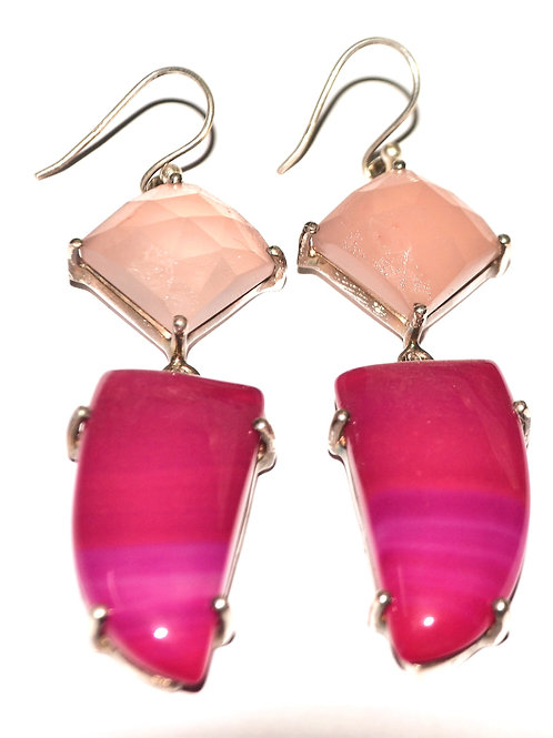 Natural Pink Onyx & Hot Pink Stone Earrings in 925 Sterling Silver