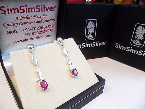 Natural Ruby with Hanging Long 925 Sterling Silver Earring