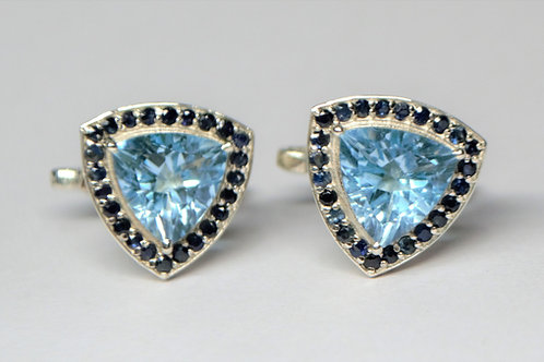 Elegant 925 Sterling Silver Blue Topaz & Blue Sapphire Fashionable Cuff-links