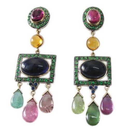Handmade Earrings with Natural Multi-color Tourmaline,Black Onyx & Citrine
