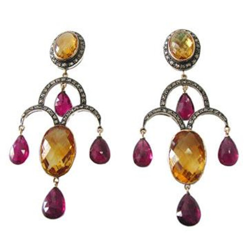Beautiful Earrings in Natural Citrine, Ruby & Sparkling Diamonds in Silver