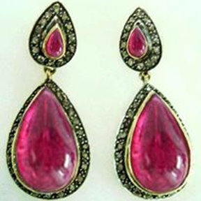 Natural Ruby & Sparkling Diamonds Handmade Earrings in Silver