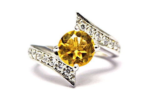 Natural Citrine & Cz Beautiful Ring in 925 Sterling Silver