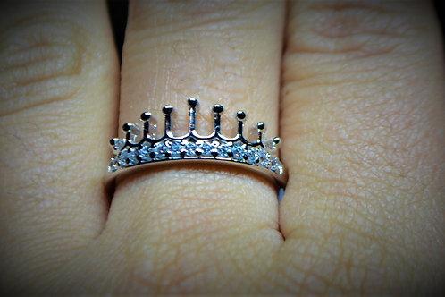 Tiara Crown Ring plain design in 925 Sterling Silver Ring for women & Girls